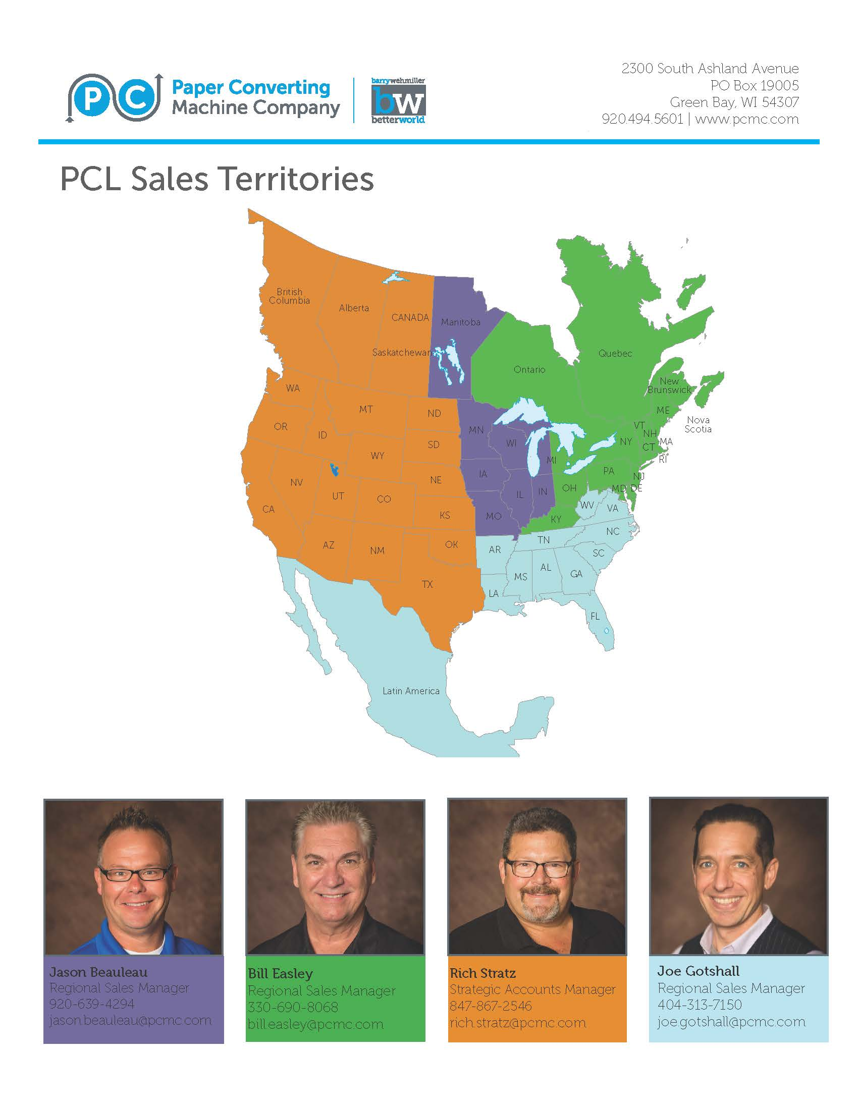 PCL Sales Territories